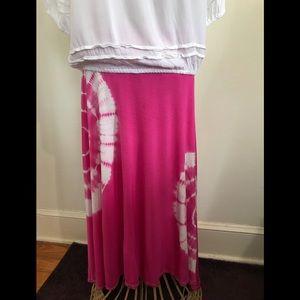Pink Tie Died Hi-Lo boho skirt